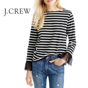 J. Crew tulle sleeve top